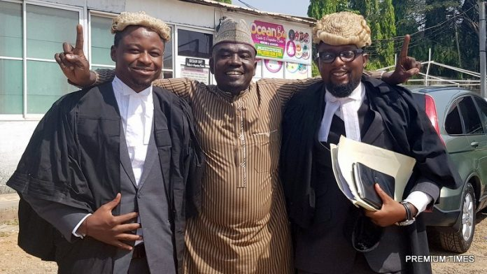 Yushau-Shuaib-with-his-lawyers-at-National-Industrial-Court