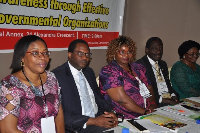 L-R President, Consumer Advocacy Foundation Of Nigeria (CAFON), Mrs. Sola Salako-Ajulo; Director General, Consumer Protection Council (CPC), Mr. Babatunde Irukera; President, Life International Foundation Incorporated, Dr. Olu Usim-Wilson; National President, National Association of Telecom Subscribers, Chief Deolu Ogunbanjo and Director, Consumer Education, CPC, Mrs. Mopelola Akeju during a round table forum for Consumer Protection Associations (CPAs), Non-Governmental Organisations (NGOs), Civil Society Organisations (CSOs) and Community Based Organisations (CBOs) in Abuja.